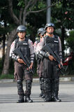 Armed police. Followed the briefing for the preparation of security in the city of Solo, Central Java, Indonesia stock photo