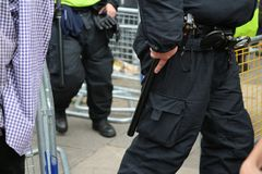An armed police officer duty belt stock photography