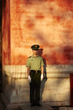 Armed policeman standing guard Royalty Free Stock Images