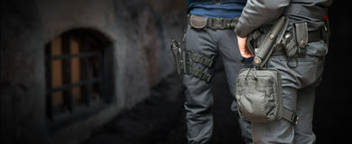 Armed policemen Royalty Free Stock Image