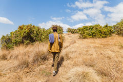 Armed ranger walking in the Simien national park in Ethiopia Stock Image