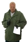 Armed robber with note. Stock Photo