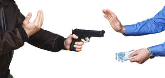 Armed robbery background. Armed robbery backgound, casual man and businessman on white Stock Photos