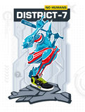Armed Robot From District 7. Vector illustration Royalty Free Stock Photos