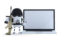Armed robot wih blank screen laptop. Thechology protection concept. . Contains clipping path of entire scene and laptop sc Royalty Free Stock Image
