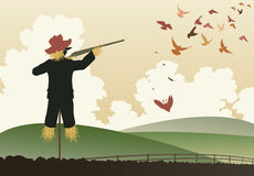 Armed scarecrow. Editable vector illustration of a scarecrow shooting pigeons with a shotgun Royalty Free Stock Image