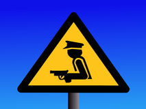 Armed security guard sign. Warning armed security guard sign on duty illustration Royalty Free Stock Images