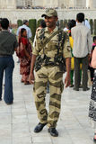 Armed security officer. Taj Mahal, India. Stock Photo