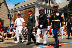 Armed Service Salute. All four branches of the armed services are honored in a Fourth of July parade royalty free stock photography