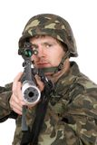 Armed soldier aiming m16 Royalty Free Stock Photo