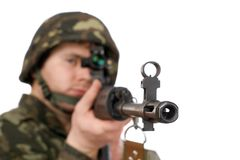 Armed soldier holding svd Stock Images