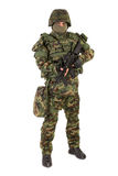 Armed soldier isolated on white background Royalty Free Stock Photography