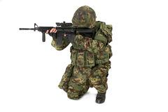Armed soldier isolated on white background Stock Image