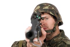 Soldier with svd. Closeup Stock Photo