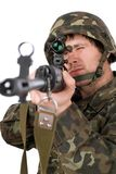Armed soldier with svd Stock Photos