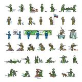 Armed soldiers in different action poses. Color vector illustration. Icon style set. Armed soldiers in different action poses. Soldiers with gun, sniper rifle stock illustration