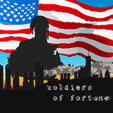 Armed soldiers in front of the American flag Royalty Free Stock Images