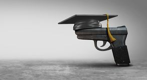 Armed Teachers. Social issue as a gun wearing a graduation mortarboard as a symbol for security in schools armed with guns as a 3D illustration vector illustration