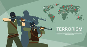 Armed Terrorist Group Over World Map Terrorism Concept Royalty Free Stock Photos