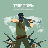 Armed Terrorist Group Over World Map Terrorism Concept Royalty Free Stock Image