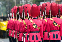 Armed Thai soldiers in parade uniforms Stock Photos