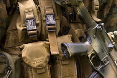 Armed U.S. Marine. Detail of an armed U.S. Marine corps soldier Stock Images