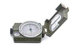 Armee-grüne Kompassisolierung auf Weiß Stockbild