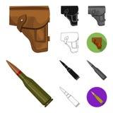 Armee und Bewaffnungskarikatur, Schwarzes, flach, einfarbig, Entwurfsikonen in der Satzsammlung für Design Waffen und Ausrüstungs lizenzfreie abbildung