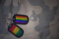 Armeefreier raum, Erkennungsmarke mit Flagge der Guine und homosexueller Regenbogenflagge auf dem kakifarbigen Beschaffenheitshin stockfoto