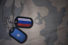 Armeefreier raum, Erkennungsmarke mit Flagge von Russland und Somalia auf dem kakifarbigen Beschaffenheitshintergrund stockfotografie