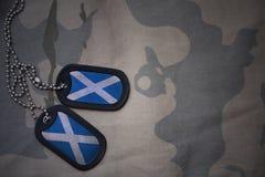 Armeefreier raum, Erkennungsmarke mit Flagge von Schottland auf dem kakifarbigen Beschaffenheitshintergrund Stockfotos
