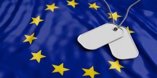 Armeekonzept der Europäischen Gemeinschaft, Umbau-Nr. auf EU kennzeichnen Hintergrund Abbildung 3D Lizenzfreies Stockfoto