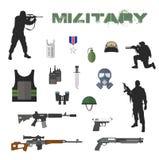 Armeekonzept der militärischer Ausrüstung flach Stockfotos