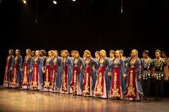 Armeens de Dansensemble van de Staat Pedagogisch Universitair het groeten publiek Royalty-vrije Stock Fotografie