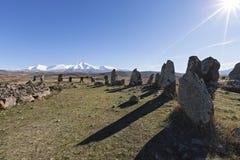 Armeense die steen henge ook als Zorats Karer of Karahunj wordt gekend royalty-vrije stock fotografie