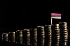 Armeense die vlag met partij van muntstukken op zwarte wordt geïsoleerd Royalty-vrije Stock Foto's