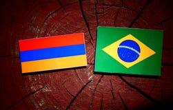Armeense vlag met Braziliaanse vlag op een geïsoleerde boomstomp Royalty-vrije Stock Afbeelding