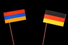 Armeense vlag met Duitse vlag op zwarte Royalty-vrije Stock Fotografie