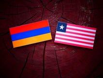 Armeense vlag met Liberiaanse vlag op een geïsoleerde boomstomp Stock Foto's