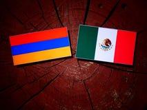 Armeense vlag met Mexicaanse vlag op een geïsoleerde boomstomp Royalty-vrije Stock Fotografie