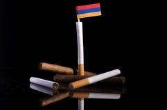Armeense vlag met sigaretten en sigaren Stock Fotografie
