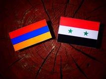 Armeense vlag met Syrische vlag op een boomstomp Royalty-vrije Stock Afbeelding