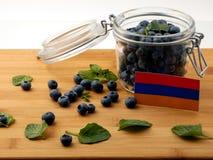 Armeense vlag op een houten plank met bosbessen op whi Royalty-vrije Stock Afbeeldingen