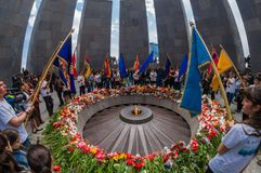 Armeense Volkerenmoord herdenkings complex 24 April 2015 Armenië, Yerevan Royalty-vrije Stock Foto