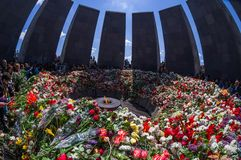 Armeense Volkerenmoord herdenkings complex 24 April 2015 Armenië, Yerevan Stock Foto's