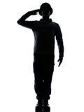 Armeesoldat-Mannbegrüßung Stockbild