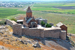 Armenië, Hor Virap - klooster van de eerste eeuw stock foto's