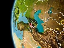Armenië van ruimte in avond Stock Foto's