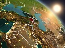 Armenië van ruimte tijdens zonsopgang Stock Afbeeldingen