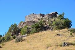 Armenië, vesting Smbataberd hoog in de bergen, 5de eeuw, in de 14de eeuw wordt herbouwd die Royalty-vrije Stock Afbeeldingen